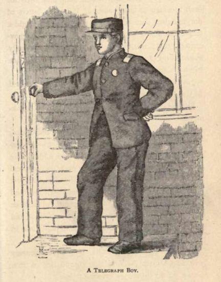 Boy in uniform stands next to door.