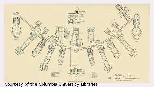 Layout of a large institution with many wings.