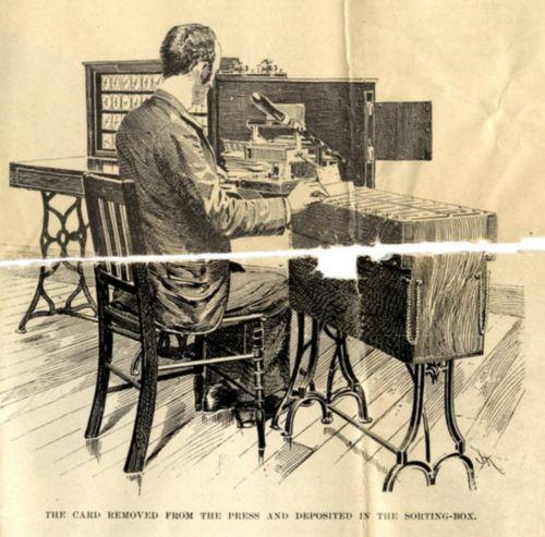 Man sitting at desk receiving sorted punch cards,