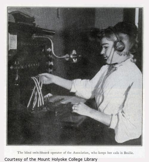Blind switchboard operator working.