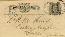 "Handwritten postcard address- ""Dr. H. M. Hurd, Eastern Assylum, Pontiac, Michigan"""