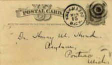 "Handwritten postcard address- ""Dr. Henry M. Hurd, Asylum, Pontiac, Michigan"""