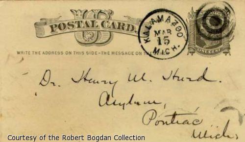 "Handwritten postcard address- ""Dr. Henry M. Hurd, Asylum, Pontiac, Michigan"""