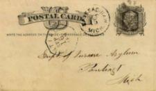 "Handwritten postcard address - ""Supt. of Insane Asylum, Pontiac. Mich."""