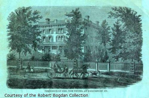 Illustration of Charles Stratton's residence; a horse drawn carriage in the foreground passes the gated mansion.