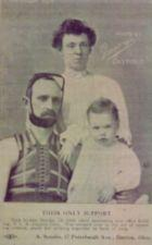 A man, woman and child pose for a family portrait; man is wearing neck/head brace.