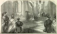 An illustration of the wedding ceremony inside of a church.