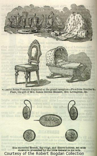 Illustration of presents including jewelry, furs, a cradle, and a chair.