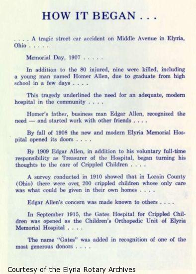 Story of Edgar Allen's involvement in Gates Hospital for Crippled Children.