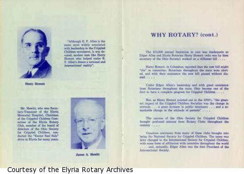 """Page 4:  Photographs and brief bios of Harry Howett and James A. Hewitt who were both active in """"Crippled Children movement"""" Page 5: Continues the story of the Rotary Club's work on behalf of Crippled Children."""