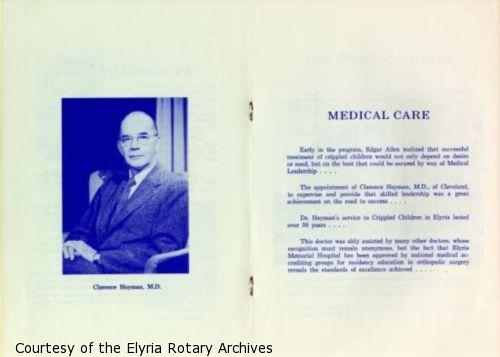 Page 6: Photograph of Clarence Heyman, M.D., a doctor at Elyria Memorial Hospital. Page 7: Description of medical expertise Dr. Heyman provided for Elyria Memorial Hospital.