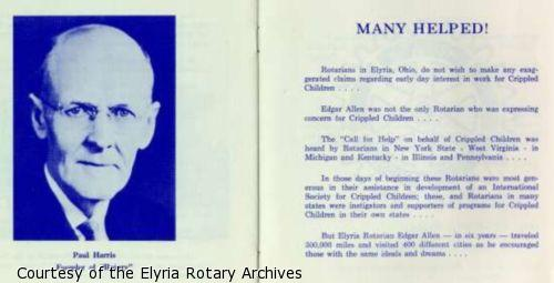 """Page 10: Photograph of Paul Harris Founder of """"Rotary"""". Page 11: Description of Edgar Allen's efforts to establish hospitals in other cities."""