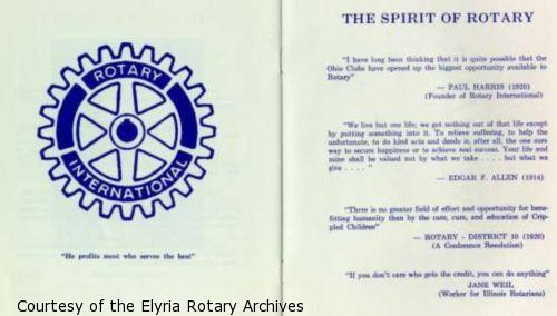 "Page 12: Rotary International logo and motto: ""He profits most who serves the best"". Page 13: ""The Spirit of Rotary"": Quotes from Rotary leaders."