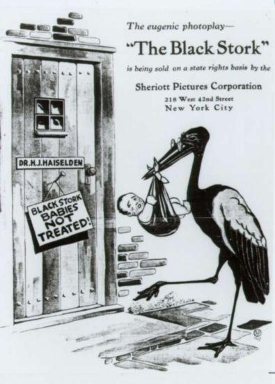 """The Black Stork delivers a crying baby to Dr. Haiselden's door.  A sign on the door reads """"Black Stork Babies Not Treated"""""""