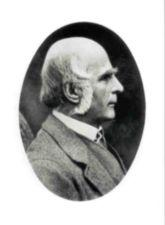 Portrait of Francis Galton.  Head and shoulders, right profile; in oval