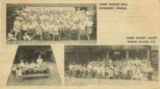 Two large group photographs of campers; one small group photo of campers doing activities at an outside table