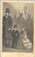 Mr. and Mrs. Tom Thumb stroll down a busy city street arm in arm, dressed in formal wear.