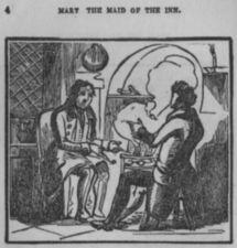 Two men sit by a fire at the inn.
