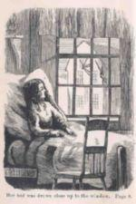 A young woman in bed looks out her window at the town.