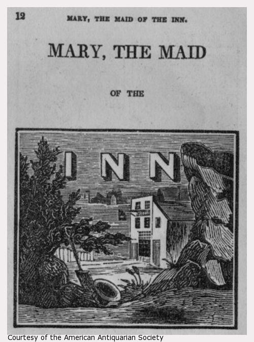 The inn is in the background. A hat lies in the foreground.