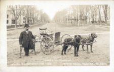 Fred Vaillancourt standing next to two dogs hitched to a wagon.