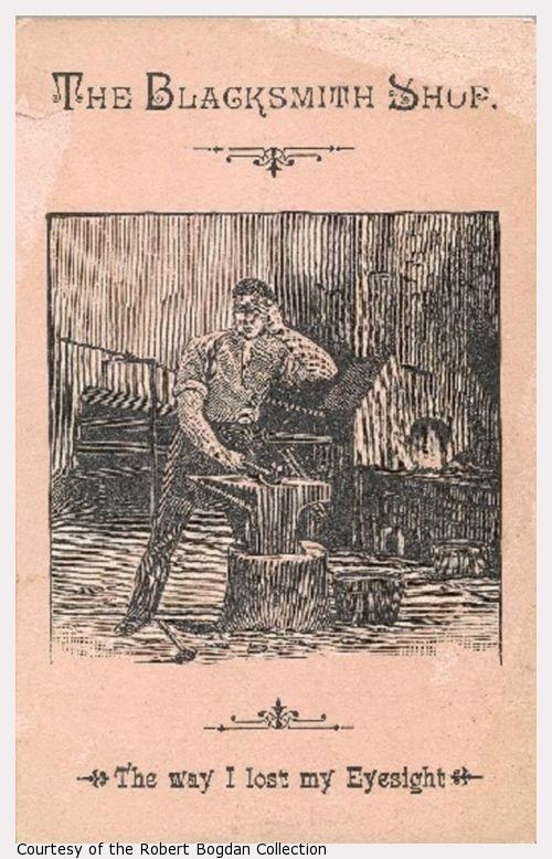 An engraving of a blacksmith working at an anvil.  One hand covers an eye.