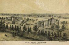 Lithograph of Alms House. Bird's eye view.